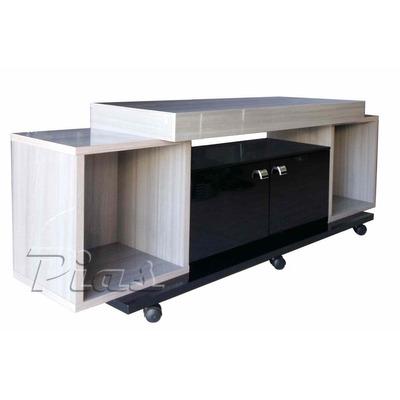 rack mueble mesa tv audio con ruedas laqueado cedrol