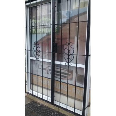 Puerta Balcon Aluminio Blanco 150 X 200 Con Vidrios Reja