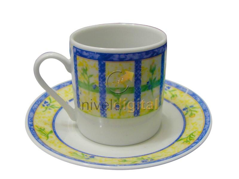 Juego 6 Platos Pocillos Porcelana Cafe En Caja 2da Seleccion