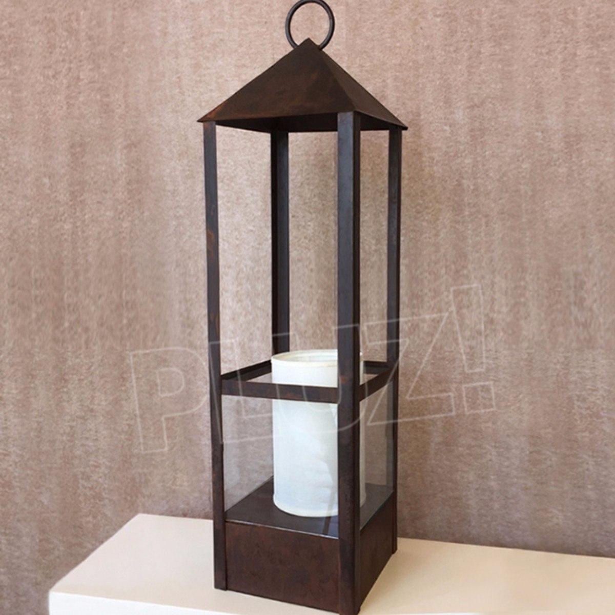 Lámpara Mesa Farol Mediano c/pant. tela - Hierro Óxido | PLUZiluminacion