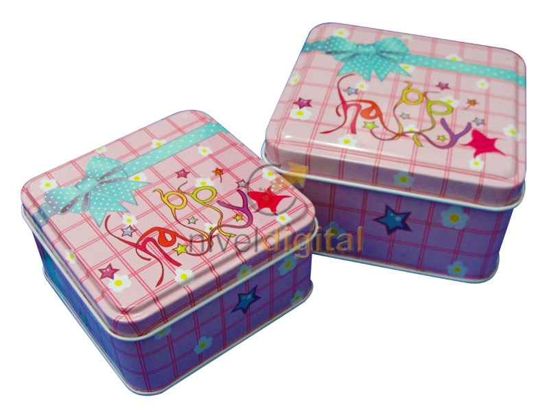 Set X 2 Cajas Metalicas Lata Cuadradas Decoradas Regalo