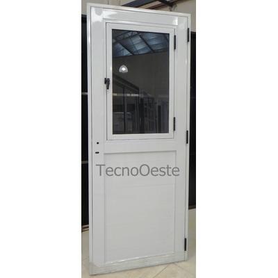 Puerta exterior aluminio blanco 1 2 vidrio entero de abrir for Puertas de calle aluminio precios