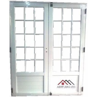 Porton puerta doble aluminio vidrios horizontales 160x200 for Perfiles pvc para aberturas