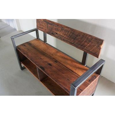 Banco con estante y respaldo estilo industrial deco - Ver muebles rusticos ...
