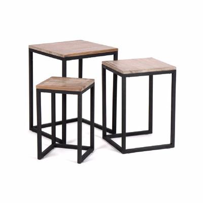 Mesa auxiliar baja nido de hierro y madera escandinavo for Mesas de hierro forjado y madera