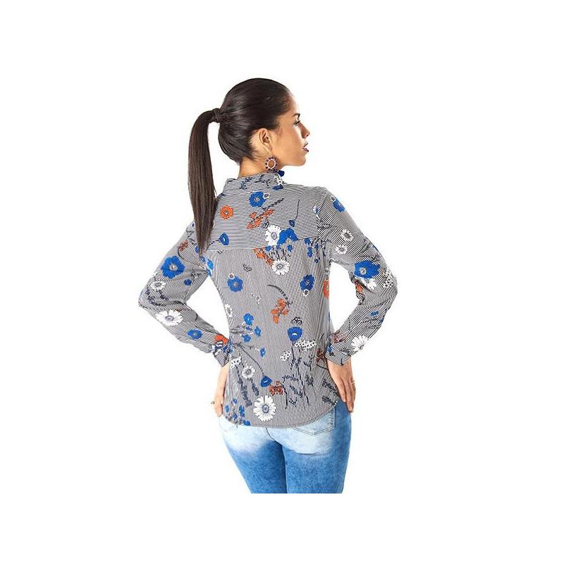 Blusa gris estampada manga larga 019231