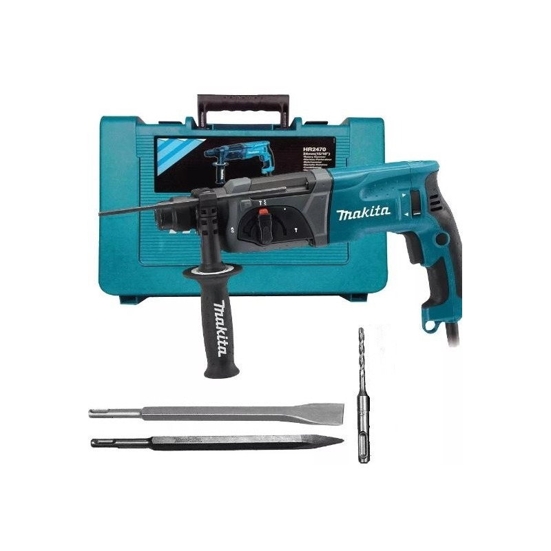 Kit Martelete Combinado Sds Plus HR2470 + Broca + Talhadeira + Ponteiro - Makita