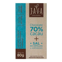 Chocolate 70% Cacau Organico Sal Rosa com Amendoas 80g Java