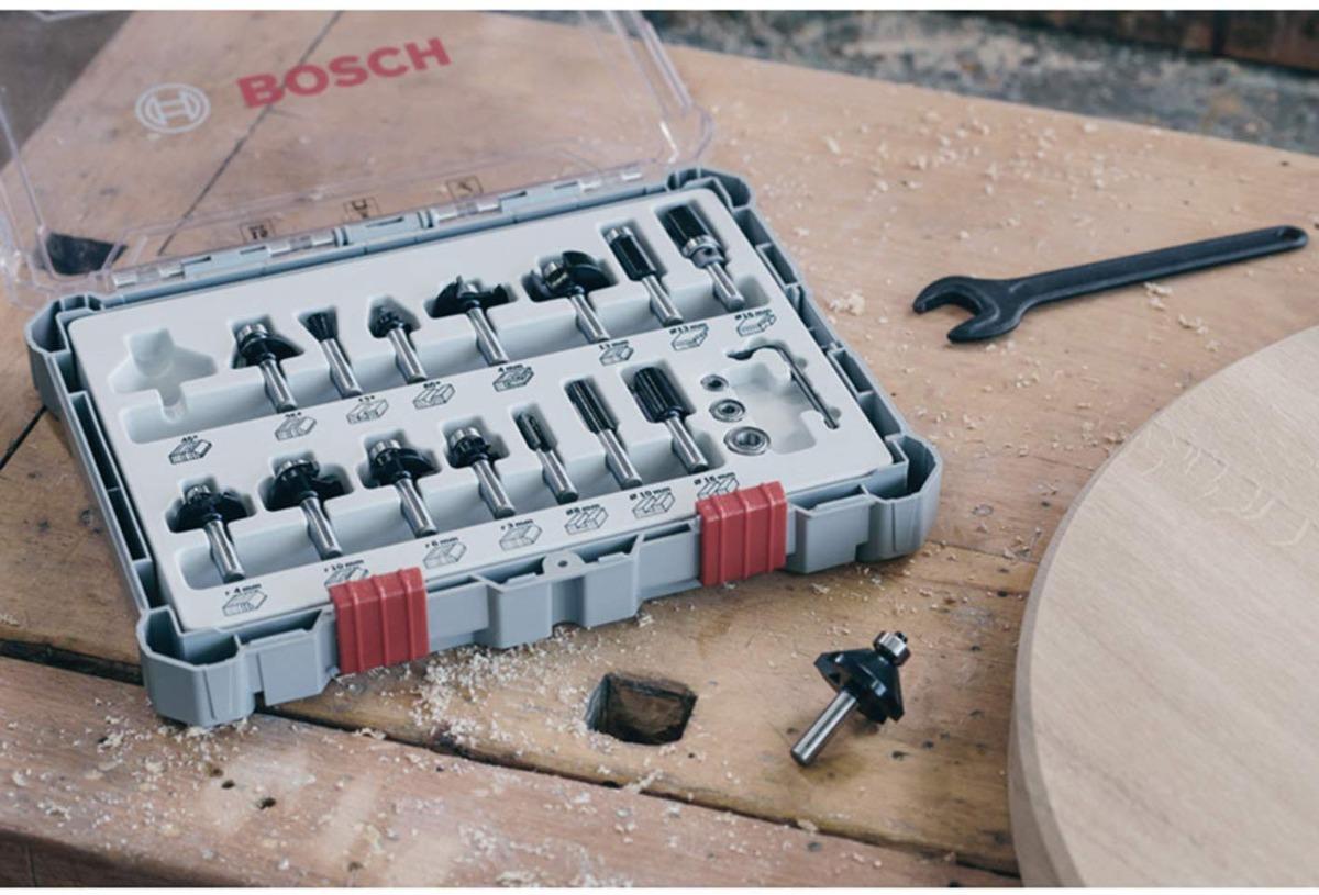 Juego De Fresas Para Router Rebajador Bosch X15u 1/4 Madera