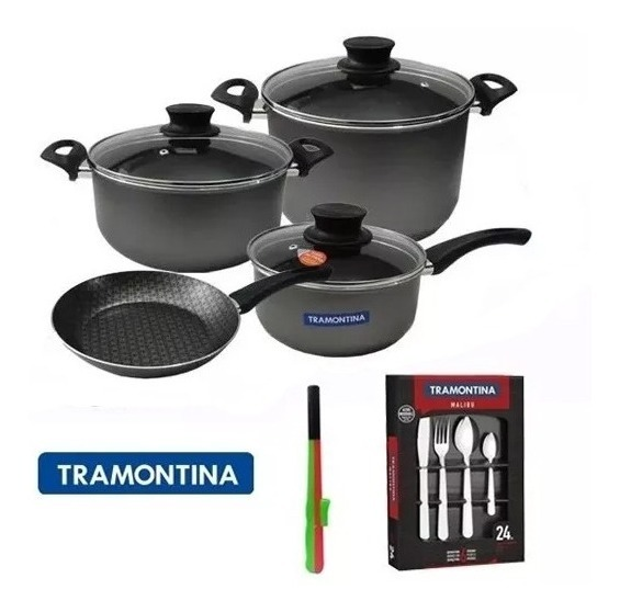 32 Pzs Tramontina Bateria Cocina Cubiertos Acero Tramontina