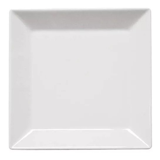 Plato Postre Cuadrado 20 5 Cm Porcelana Blanca Oxford