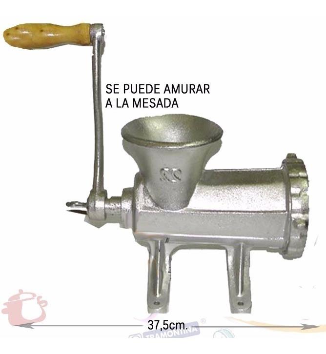 Picadora De Carne Nº 22 Fundicion Hierro Con Manija Manual