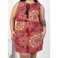Vestido rojo multicolor 015191P