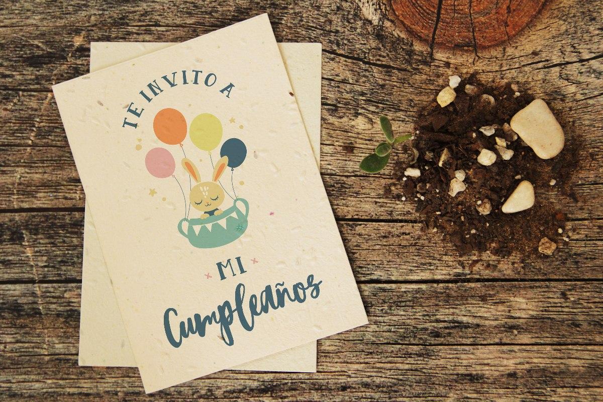 10 Invitaciones Plantables Cumpleaños Infantil - P...