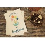 10 Invitaciones Plantables Cumpleaños Infantil - Papel Reciclado Plantable