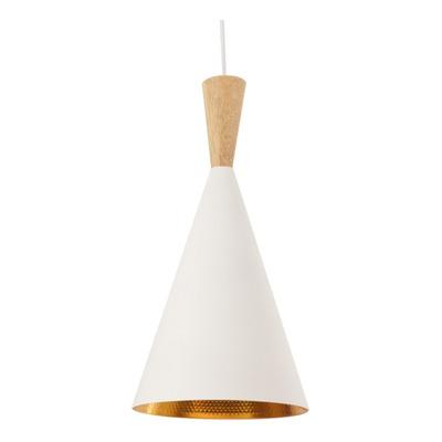 Lampara Colgante Moderno Blanco Madera Beat Tall Apto Led Sf