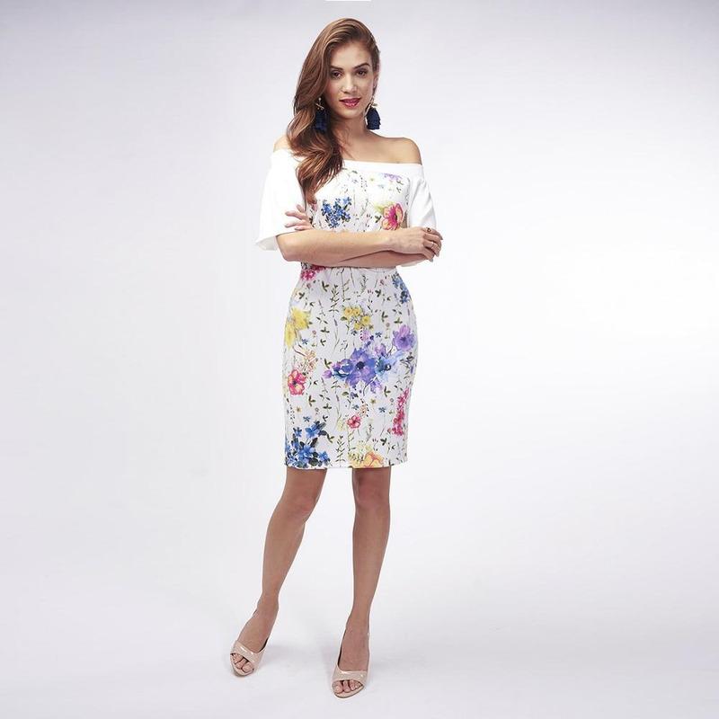 Vestido Blanco Con Estampado Floral 019460