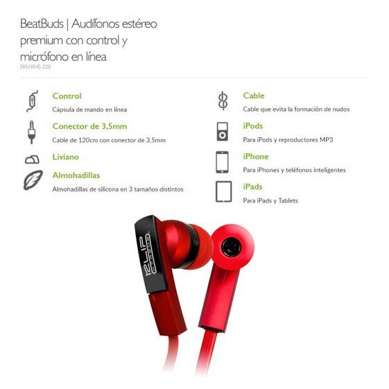 Auriculares Manos Libres Klip Xtreme Beatbuds Khs-220 Rojos