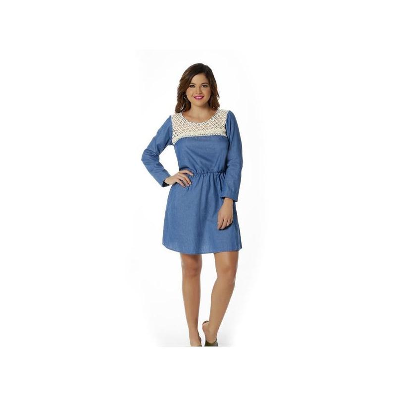 Vestido corto azul mezclilla con beige 010576