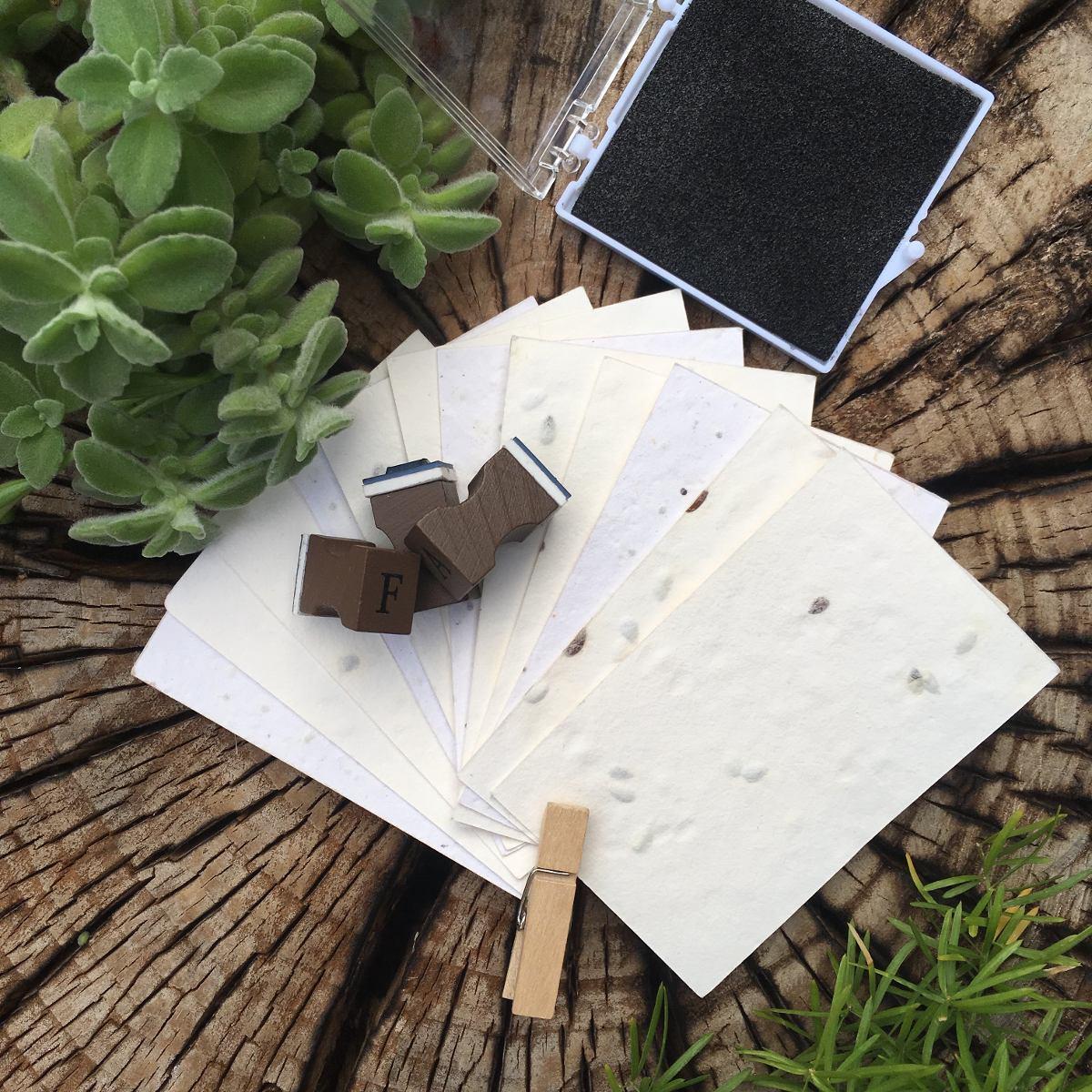 200 Tarjetas/Tags 8x5 cm (Corte Recto) - Papel Plantable ...