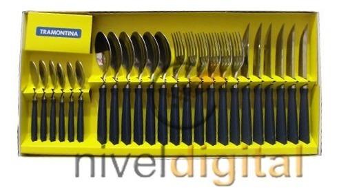 Set Bateria Tramontina 7 Pzs + 24 Cubiertos Pvc Tramontina