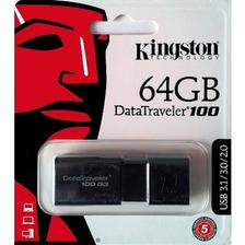 Pendrive 64gb Kingston Original Dt100g3 Usb 3.1 Pen Drive