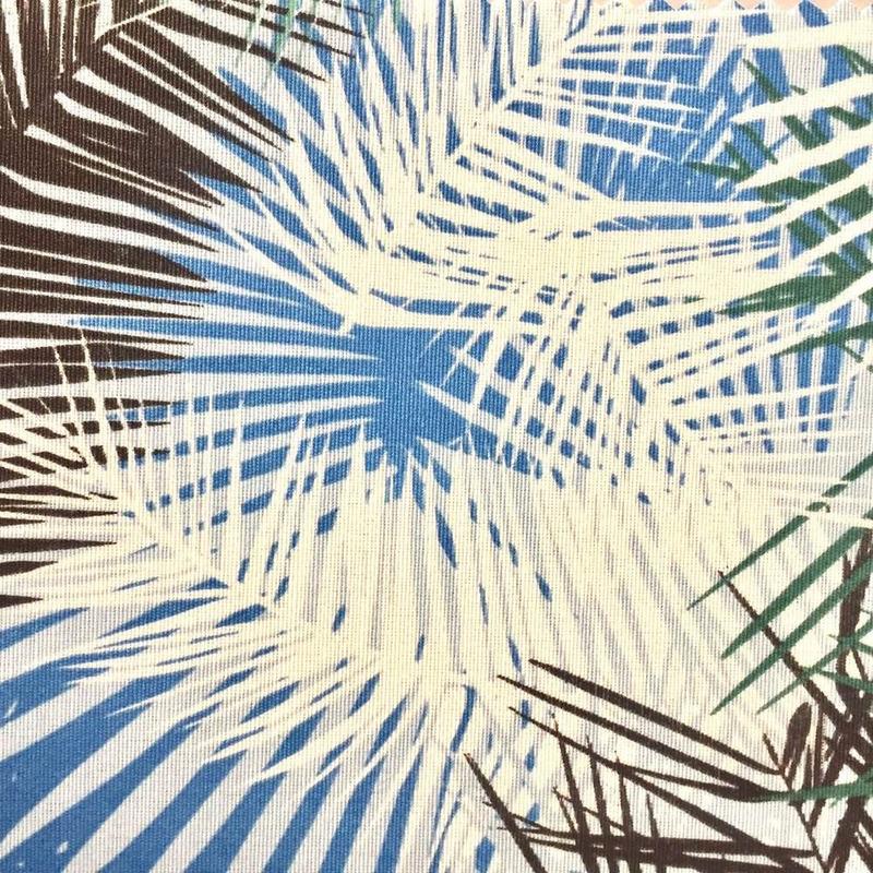 Tecido impermeável Acqua Soleil folhagem palm azul