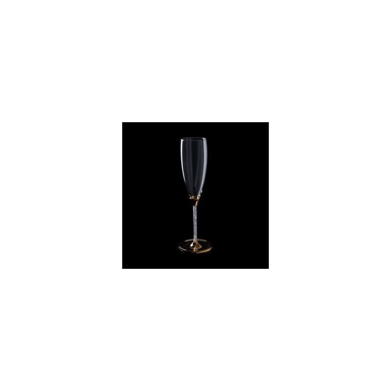 Jogo 2 Taças em Vidro para Champagne Strass Bodas de Ouro 4106388