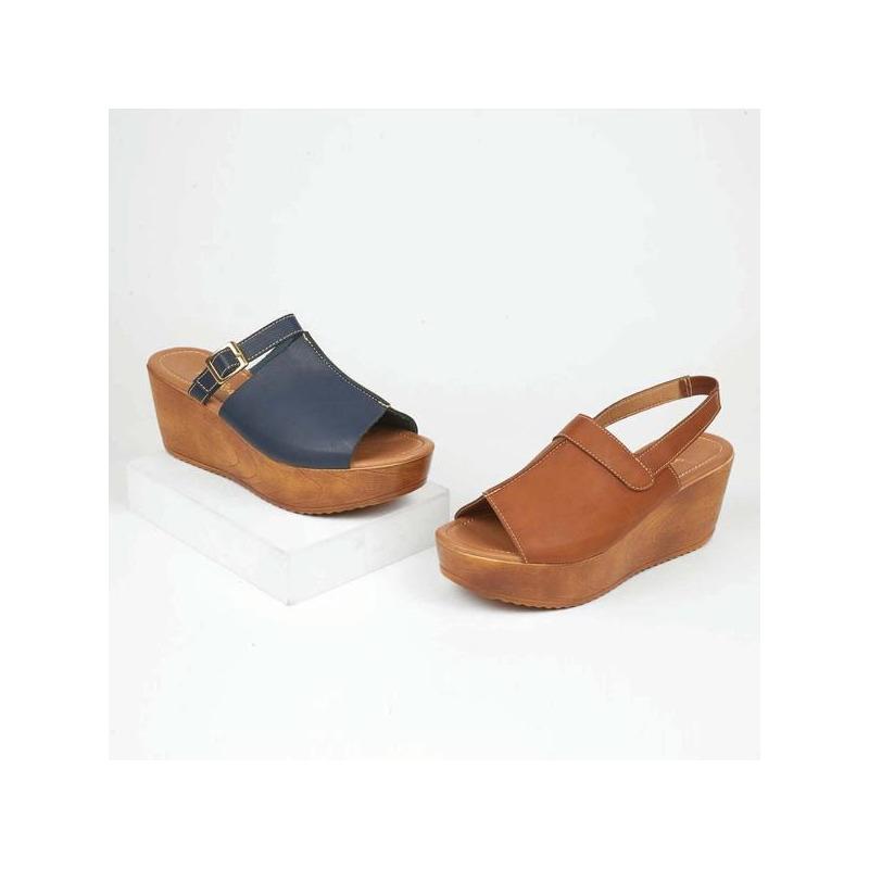 Combo sandalias plataforma azul y miel 016548
