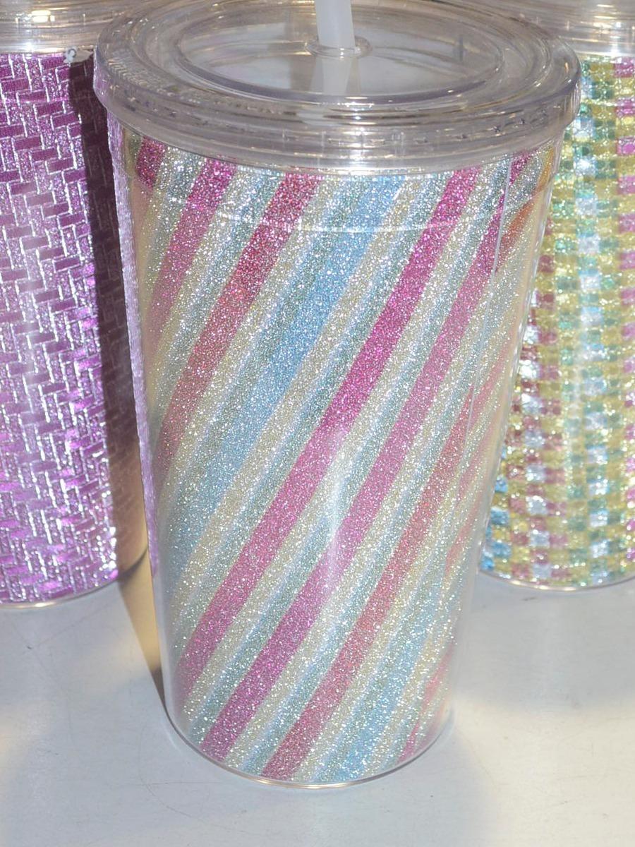 Vaso Plastico Glitter Con Sorbete Plastico