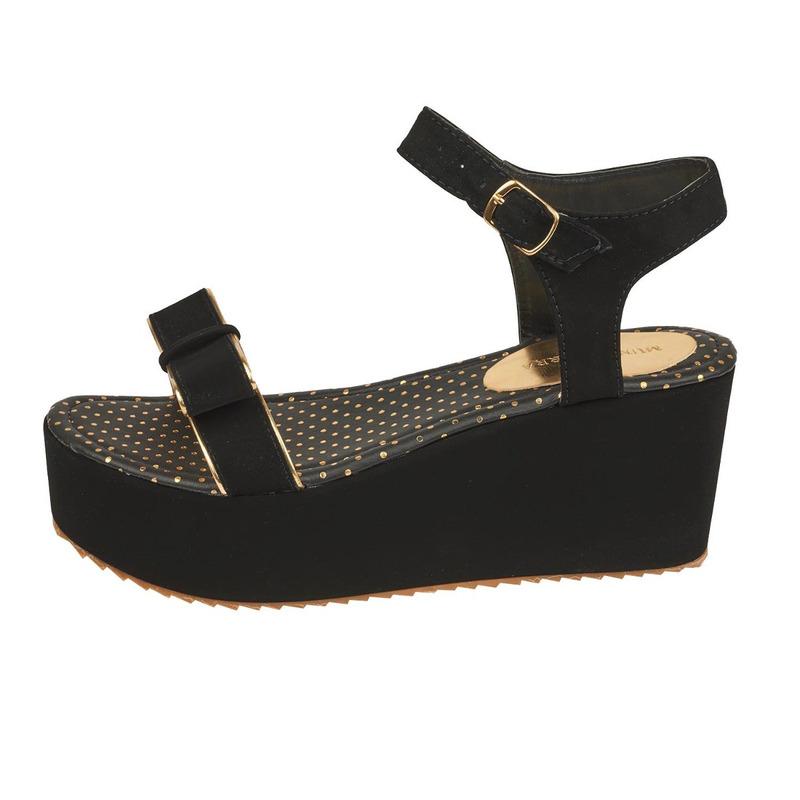 Sandalia plataforma negra con moño  016450