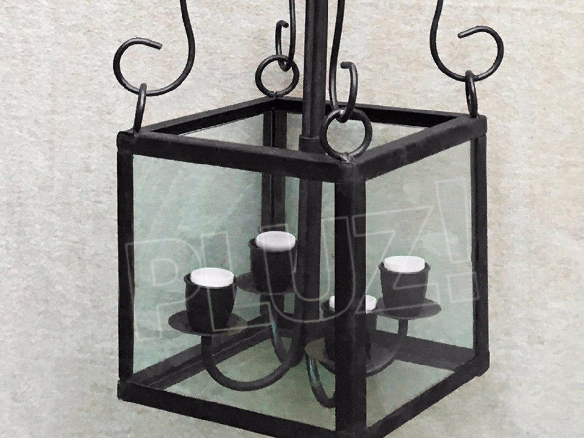 Colgante Farol Cubo Vidrio 4 luces - Hierro Negro