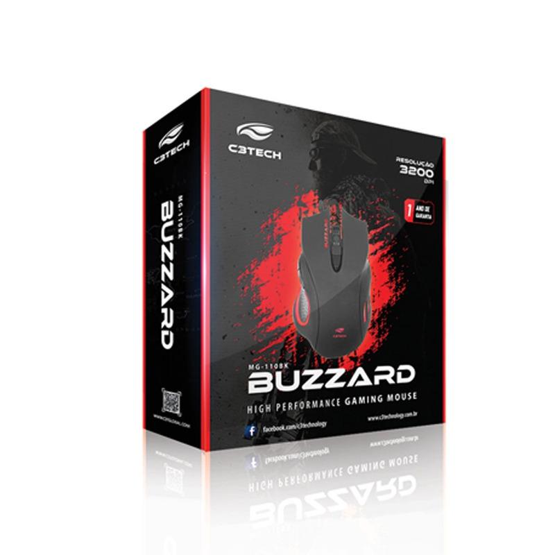 MOUSE GAME USB C3TECH BUZZARD MG-110BK PRETO