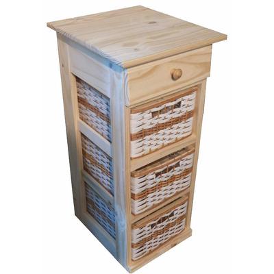 Mueble organizador pino con 1 cajon y 3 canastos muebles for Muebles pino natural