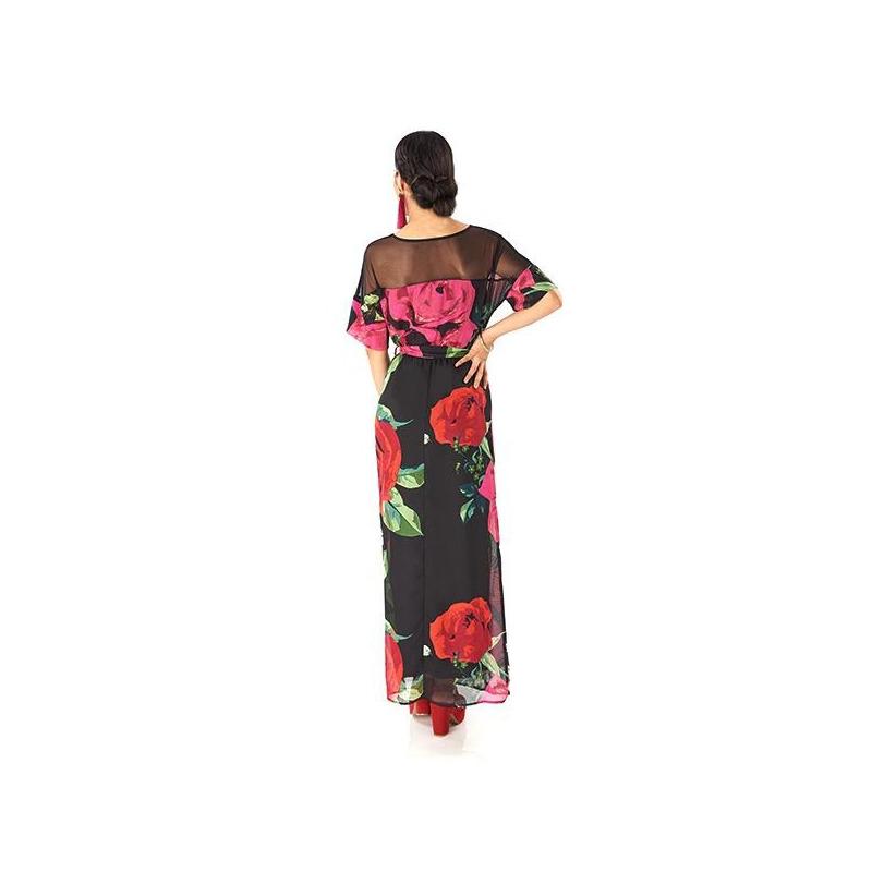 Vestido largo estampado con transparencia  014409