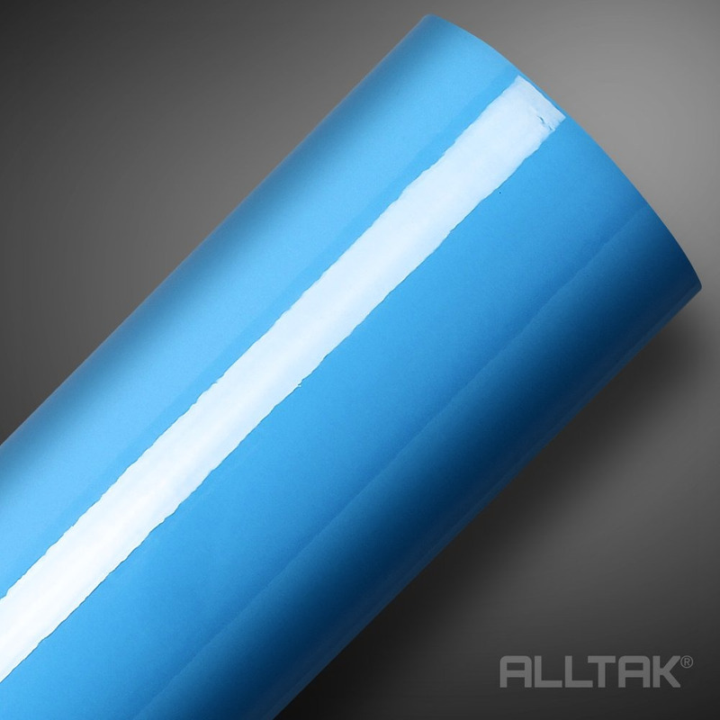 Adesivo brilho ultra envelopamento automotivo azul baby blue larg. 1,38 m