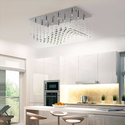 Plafon Colgante Cairel Deco Media Onda Con 12 Luces Led Incluidas