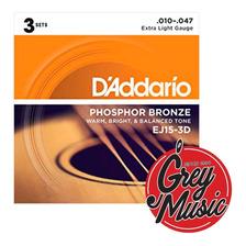 Encordado De Guitarra Acústica Daddario 010-047  Ej15 3d