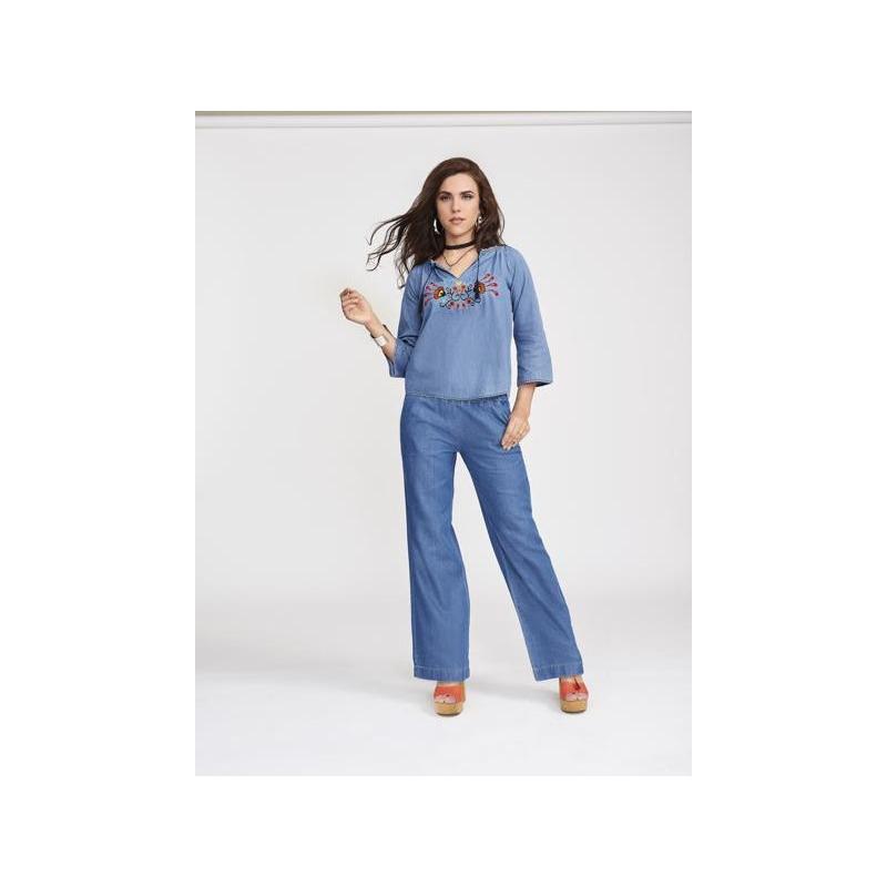 Blusa azul mezclilla manga 3/4 012326