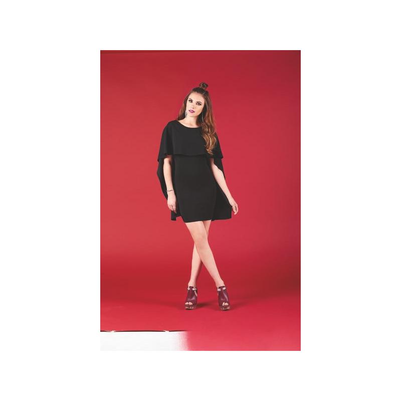 Vestido corto negro manga corta 003306