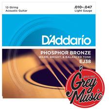 Encordado Daddario Ej38 Guitarra Acústica 12 Cuerdas