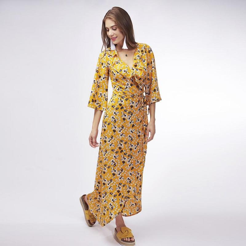 Vestido Amarillo Con Estampado 019522