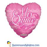 globo mis quince corazon 45cm desinflado apto helio