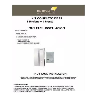 Kit Portero Electrico Commax Dp 2s 2hp 2k Frente Aplicar