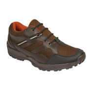 Sneakers bicolor naranja y café 018617