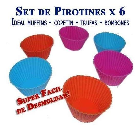 Set 6 Mini Moldes Pirotines Silicona Copetin Bombones Trufas