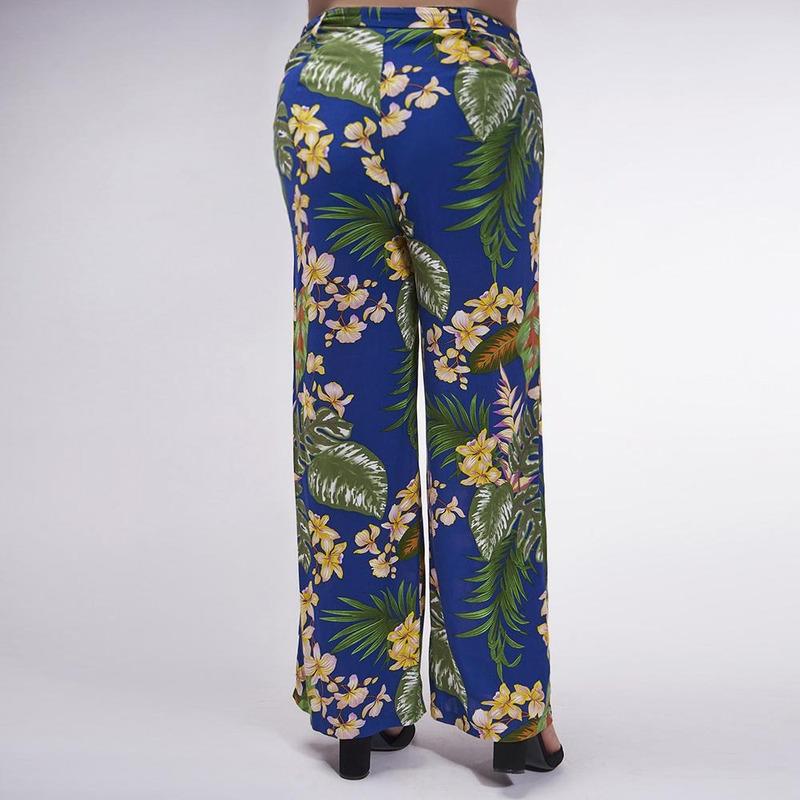 Pantalón Azul Con Estampado Floral 019337