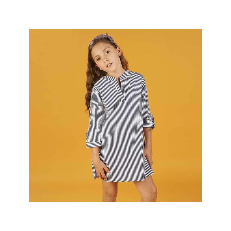 Vestido blanco con azul manga 3/4 015120