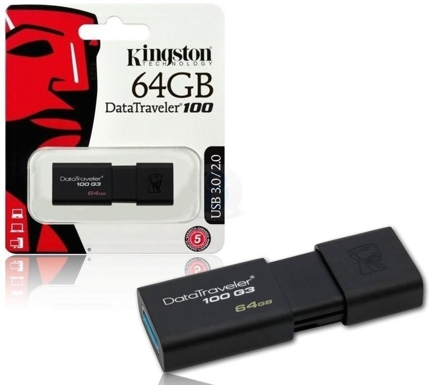 Pen Drive Kingston 64gb Usb 3.0 3.1 Dt100 G3 Original Gtia