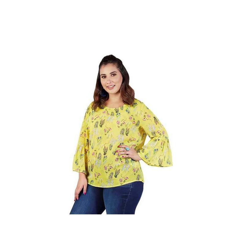 Blusa amarilla multicolor manga 3/4 015164P